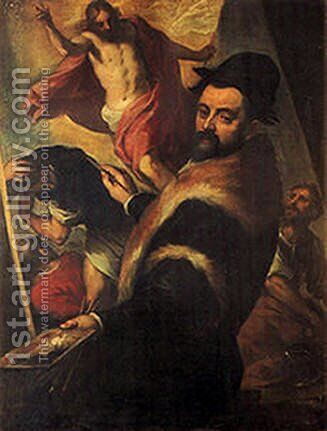 Self-Portrait of Agostino Carracci by Agostino Carracci - Reproduction Oil Painting