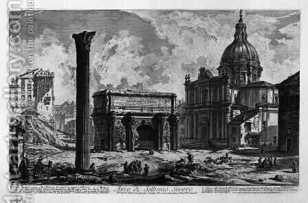 Arch of Septimius Severus by Giovanni Battista Piranesi - Reproduction Oil Painting