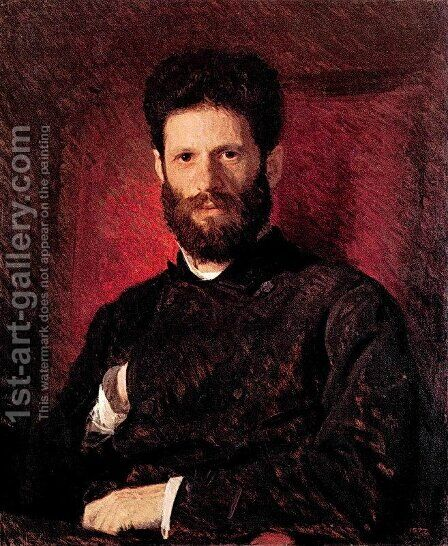 Portrait of sculptor Mark Matveevitch Antokolsky by Ivan Nikolaevich Kramskoy - Reproduction Oil Painting