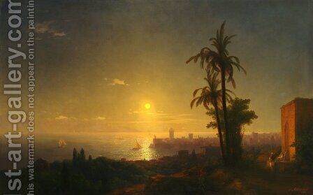 Night at the Rodos island by Ivan Konstantinovich Aivazovsky - Reproduction Oil Painting