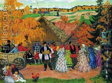 Village  Holiday (Autumn holiday in the village) by Boris Kustodiev - Reproduction Oil Painting