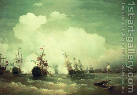 Sea battle at Revel by Ivan Konstantinovich Aivazovsky - Reproduction Oil Painting