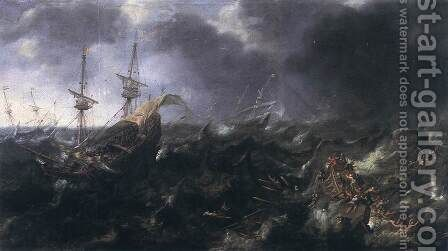 Ships in Peril 1623 by Andries Van Eertvelt - Reproduction Oil Painting