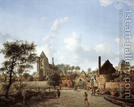 Approach to the Town of Veere c. 1665 by Jan Van Der Heyden - Reproduction Oil Painting