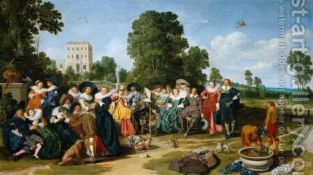 The Fête Champêtre 1627 by Dirck Hals - Reproduction Oil Painting