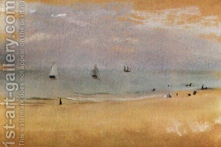 Beach with Sailing Boats by Edgar Degas - Reproduction Oil Painting
