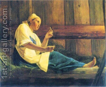 The Girl in the Hayloft by Aleksei Gavrilovich Venetsianov - Reproduction Oil Painting
