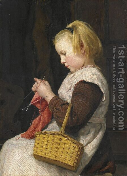 Strickendes Madchen mit Korb by Albert Anker - Reproduction Oil Painting
