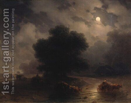 Night in the Ukraine by Ivan Konstantinovich Aivazovsky - Reproduction Oil Painting