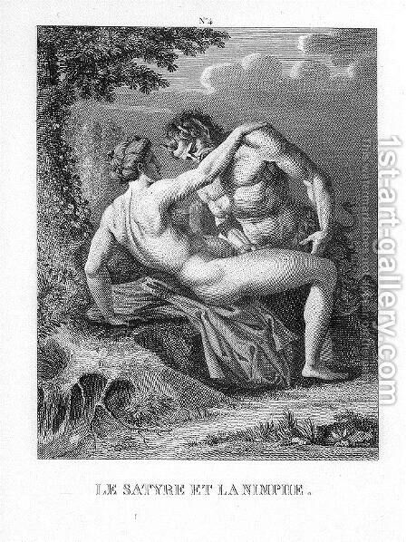 The Satyr and Nymph by Agostino Carracci - Reproduction Oil Painting