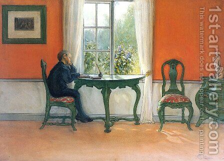 Required Reading by Carl Larsson - Reproduction Oil Painting