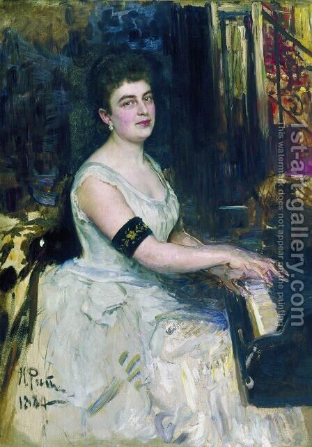 Portrait of pianist M.K. Benoit by Ilya Efimovich Efimovich Repin - Reproduction Oil Painting