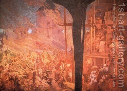 Defense of Sziget against the Turks by Alphonse Maria Mucha - Reproduction Oil Painting