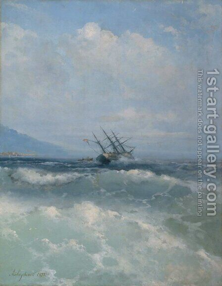 The waves by Ivan Konstantinovich Aivazovsky - Reproduction Oil Painting