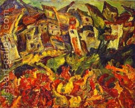 Houses with Pointed Roofs by Chaim Soutine - Reproduction Oil Painting