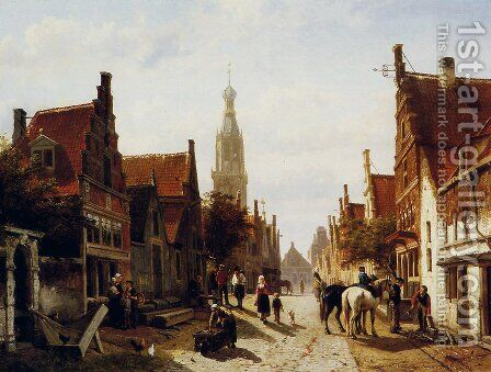 Market Oudewater by Cornelis Springer - Reproduction Oil Painting
