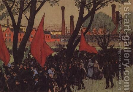 May Day demonstration in Putilov by Boris Kustodiev - Reproduction Oil Painting