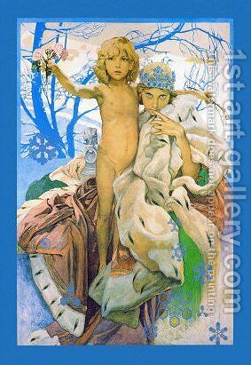 Poster presentation of Andersen's Snow Queen by Alphonse Maria Mucha - Reproduction Oil Painting