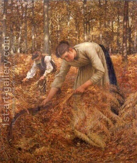 Gathering Bracken by Henry Herbert La Thangue - Reproduction Oil Painting