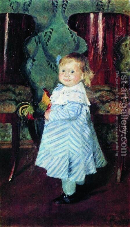 Portrait of I.B. Kustodieva by Boris Kustodiev - Reproduction Oil Painting
