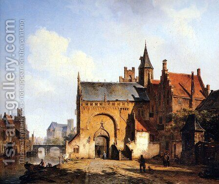 Fantasy cityview of Maassluis by Cornelis Springer - Reproduction Oil Painting