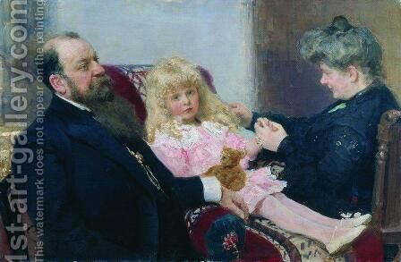 The Delarov Family Portrait by Ilya Efimovich Efimovich Repin - Reproduction Oil Painting