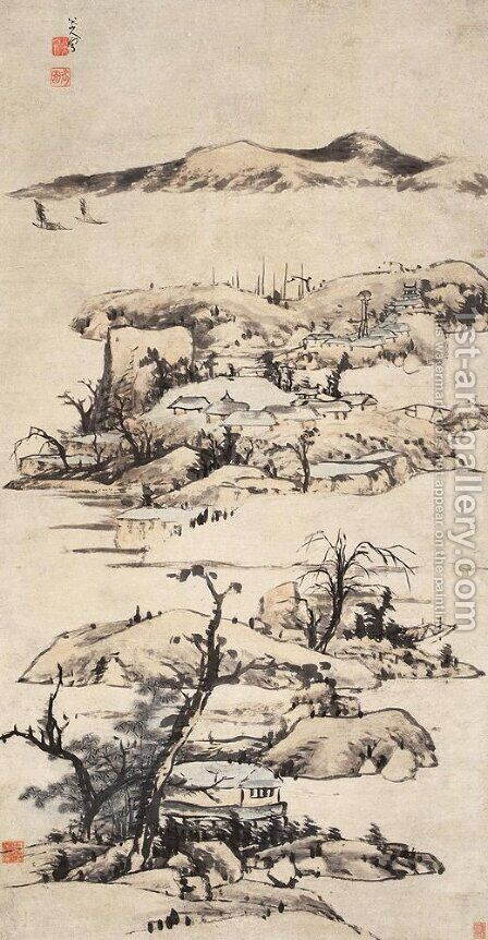 Landscape (Ni Zan Style) by Bada Shanren - Reproduction Oil Painting
