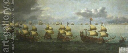 The Return of Prince Charles from Spain, 5 October 1623 by Hendrick Cornelisz. Vroom - Reproduction Oil Painting