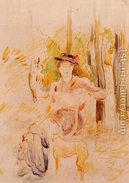 Girl with Greyhound by Berthe Morisot - Reproduction Oil Painting