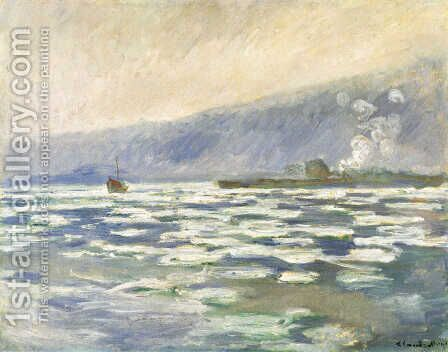 Ice, Lock Port Villez by Claude Oscar Monet - Reproduction Oil Painting