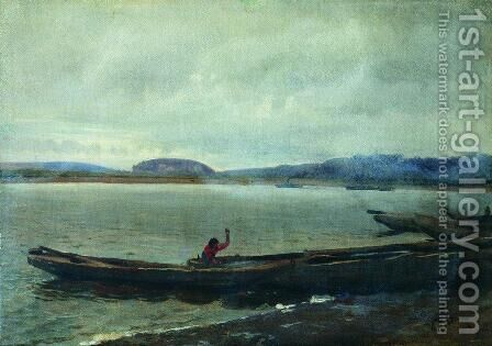 Landscape of the Volga with boats by Ilya Efimovich Efimovich Repin - Reproduction Oil Painting