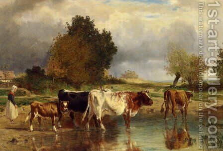 Calf cows at the marl by Constant Troyon - Reproduction Oil Painting