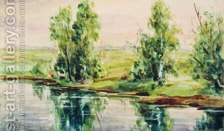 A river 2 by Isaak Ilyich Levitan - Reproduction Oil Painting