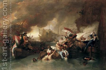 The Battle of La Hogue, Destruction of the French fleet, May 22, 1692 by Benjamin West - Reproduction Oil Painting