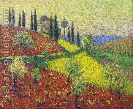 Cyprus Trees on the Hill by Henri Martin - Reproduction Oil Painting
