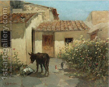 In the garden by Constantinos Volanakis - Reproduction Oil Painting