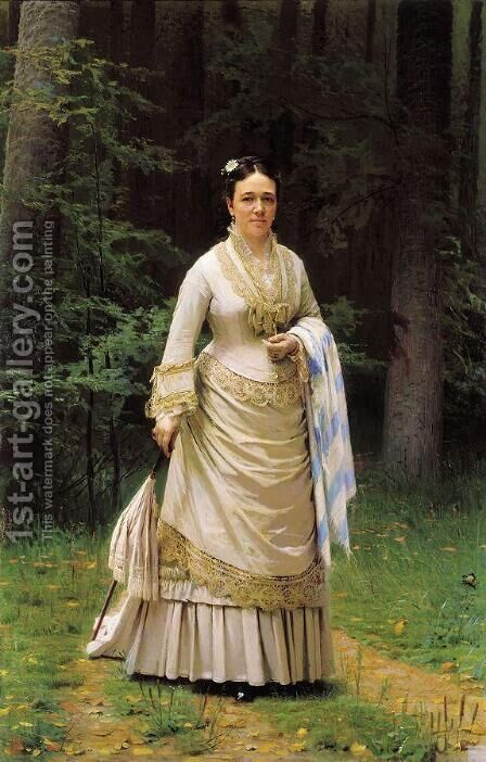 Portrait of Vera Nikolaevna Tretyakova by Ivan Nikolaevich Kramskoy - Reproduction Oil Painting