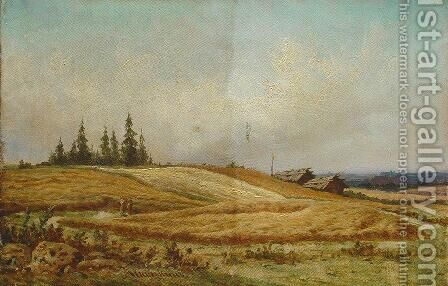 Summer landscape with two houses by Ivan Shishkin - Reproduction Oil Painting