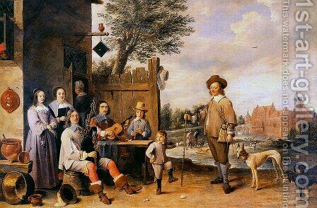 Landscape with a family by David The Younger Teniers - Reproduction Oil Painting