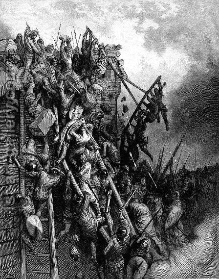 The Army of Priest Volkmar and Count Emocio attack Merseburg by Gustave Dore - Reproduction Oil Painting