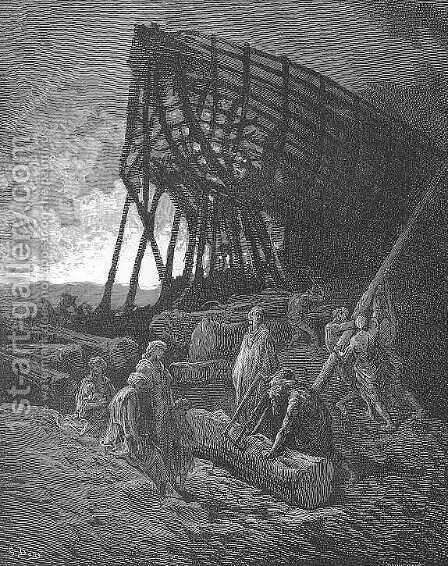 Began to build a vessel of huge bulk by Gustave Dore - Reproduction Oil Painting