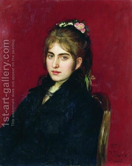 Portrait of Chuguev resident S.L. Lyubitskaya by Ilya Efimovich Efimovich Repin - Reproduction Oil Painting