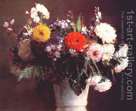 Autumn Bouquet by Ignace Henri Jean Fantin-Latour - Reproduction Oil Painting