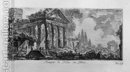 A marble plaque with the inscription Roman Antiquities outside of Rome, drawn and engraved by Venetian architect Giambattista Piranesi, Part Two by Giovanni Battista Piranesi - Reproduction Oil Painting