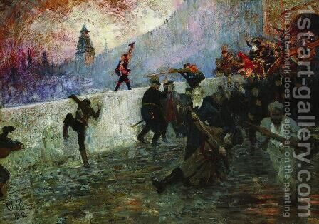 In the besieged Moscow in 1812 by Ilya Efimovich Efimovich Repin - Reproduction Oil Painting