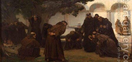 Monks Playing Bowls by Charles Hermans - Reproduction Oil Painting