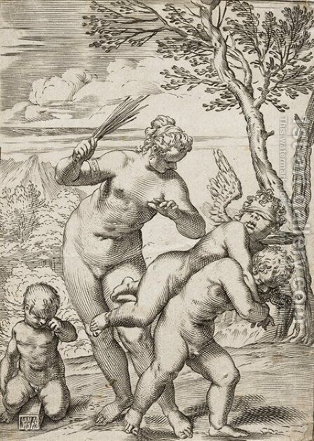 Venus Punishing Profane Love by Agostino Carracci - Reproduction Oil Painting