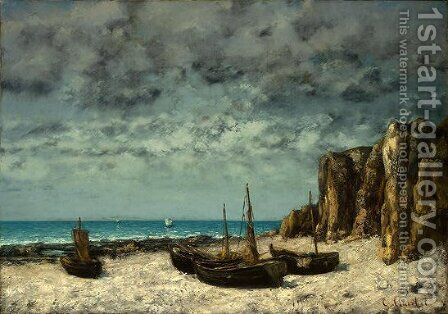 Boats on a Beach, Etretat by Gustave Courbet - Reproduction Oil Painting