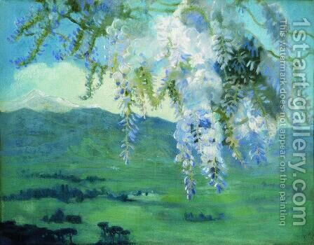 Blooming wisteria by Boris Kustodiev - Reproduction Oil Painting