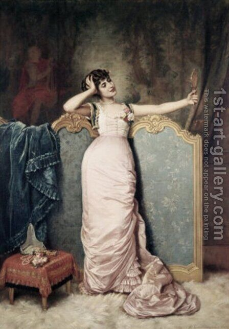 Admiring Herself by Auguste Toulmouche - Reproduction Oil Painting